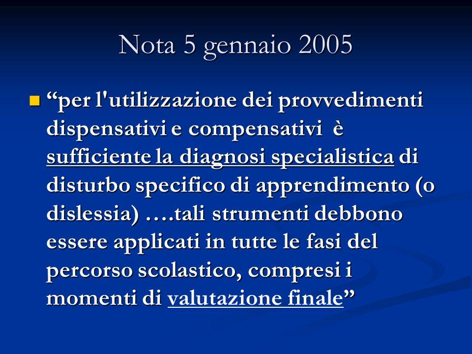 Nota 5 gennaio 2005 per l'utilizzazione dei provvedimenti dispensativi e compensativi è sufficiente la diagnosi specialistica di disturbo specifico di