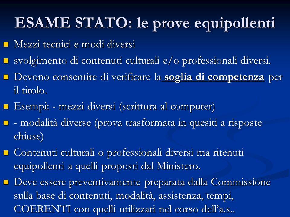 ESAME STATO: le prove equipollenti Mezzi tecnici e modi diversi Mezzi tecnici e modi diversi svolgimento di contenuti culturali e/o professionali dive