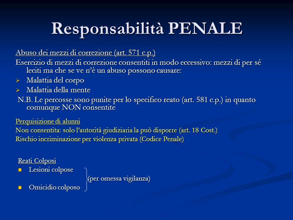 Responsabilità PENALE Abuso dei mezzi di correzione (art. 571 c.p.) Esercizio di mezzi di correzione consentiti in modo eccessivo: mezzi di per sé lec