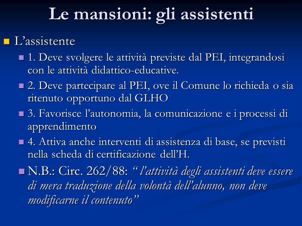 Le mansioni: gli assistenti Lassistente Lassistente 1. Deve svolgere le attività previste dal PEI, integrandosi con le attività didattico-educative. 1