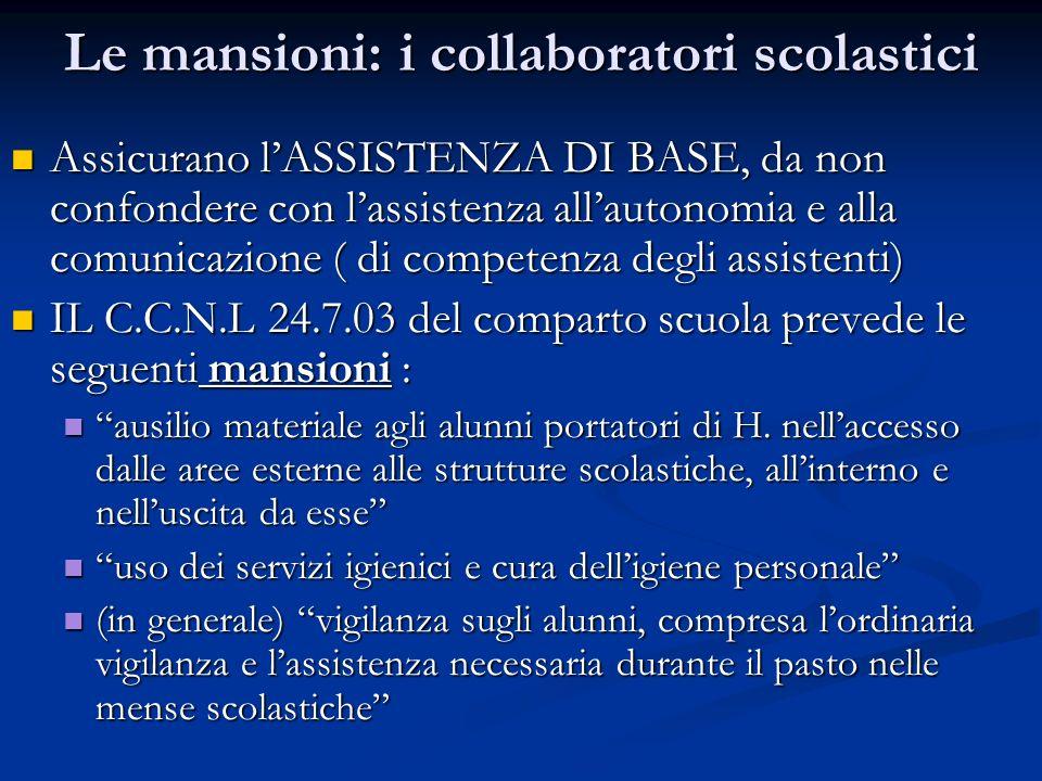 Le mansioni: i collaboratori scolastici Assicurano lASSISTENZA DI BASE, da non confondere con lassistenza allautonomia e alla comunicazione ( di compe