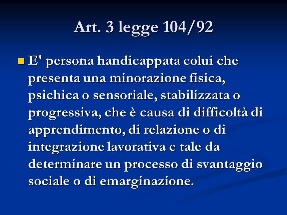 Art. 3 legge 104/92 E' persona handicappata colui che presenta una minorazione fisica, psichica o sensoriale, stabilizzata o progressiva, che è causa