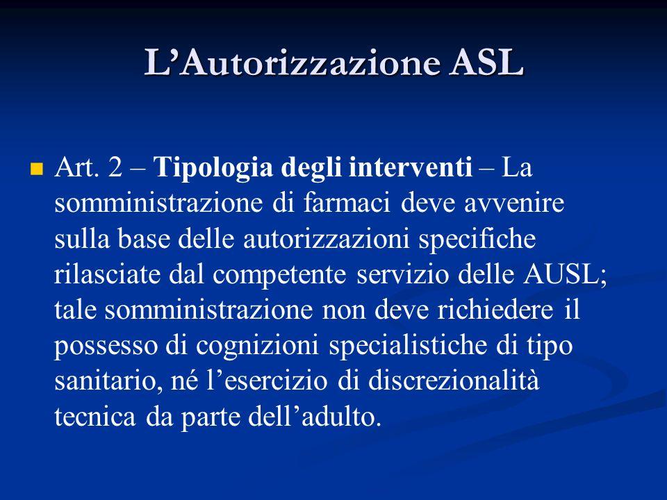 LAutorizzazione ASL Art. 2 – Tipologia degli interventi – La somministrazione di farmaci deve avvenire sulla base delle autorizzazioni specifiche rila