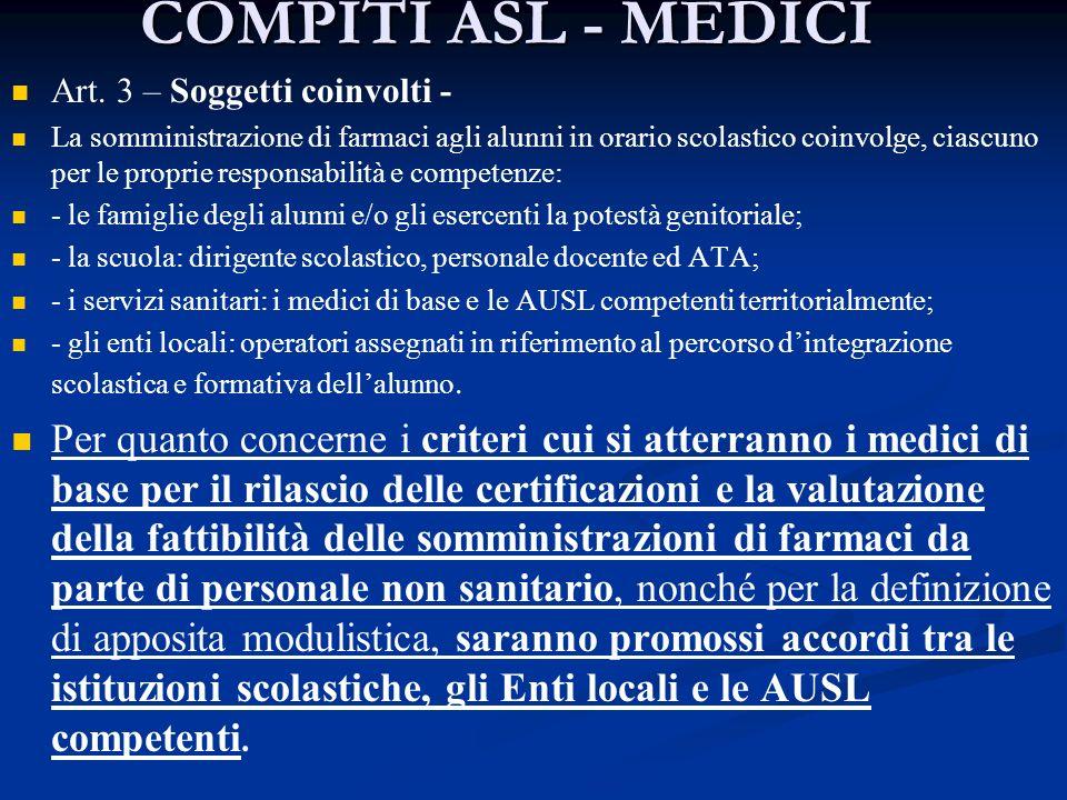 COMPITI ASL - MEDICI Art. 3 – Soggetti coinvolti - La somministrazione di farmaci agli alunni in orario scolastico coinvolge, ciascuno per le proprie