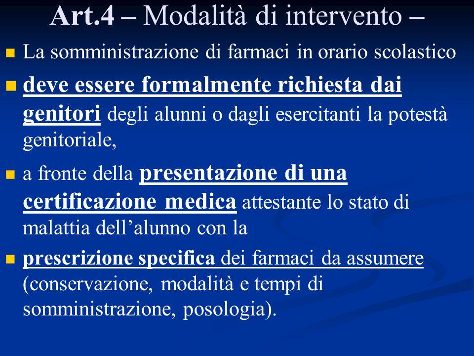 Art.4 – Modalità di intervento – La somministrazione di farmaci in orario scolastico deve essere formalmente richiesta dai genitori degli alunni o dag