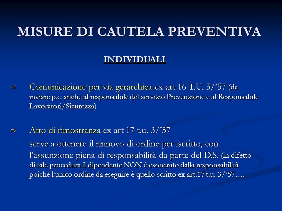 MISURE DI CAUTELA PREVENTIVA INDIVIDUALI Comunicazione per via gerarchica ex art 16 T.U. 3/57 (da inviare p.c. anche al responsabile del servizio Prev