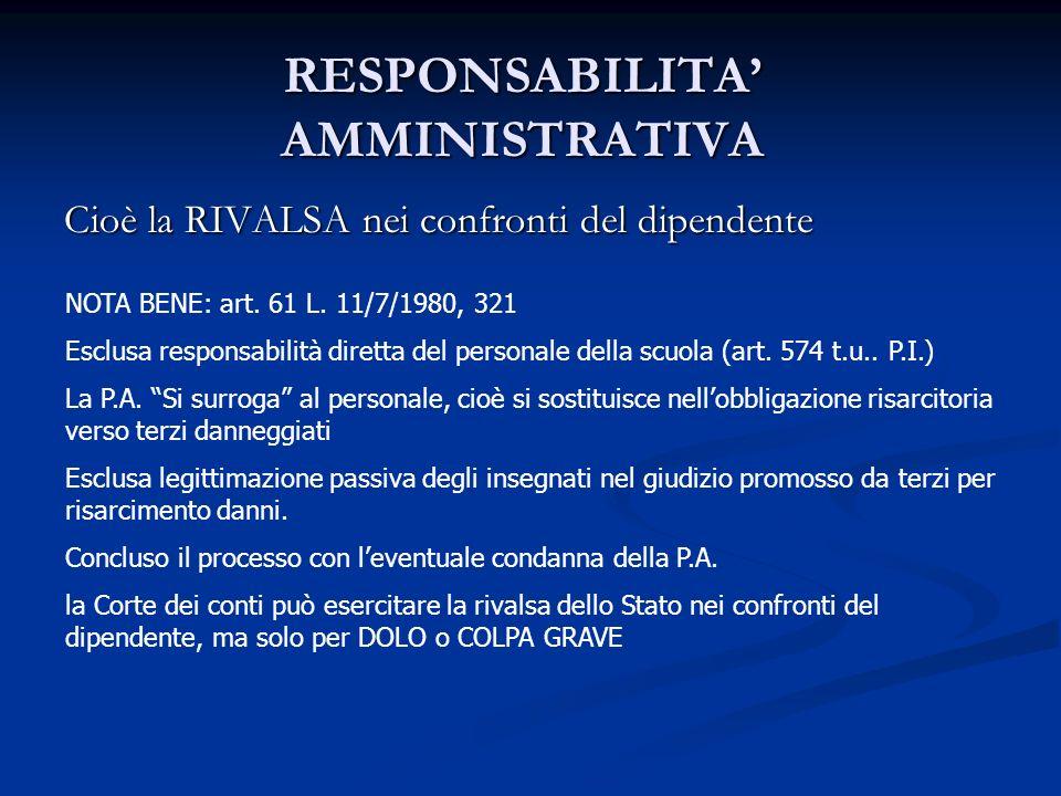 RESPONSABILITA AMMINISTRATIVA Cioè la RIVALSA nei confronti del dipendente NOTA BENE: art. 61 L. 11/7/1980, 321 Esclusa responsabilità diretta del per