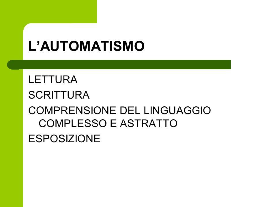 LAUTOMATISMO LETTURA SCRITTURA COMPRENSIONE DEL LINGUAGGIO COMPLESSO E ASTRATTO ESPOSIZIONE