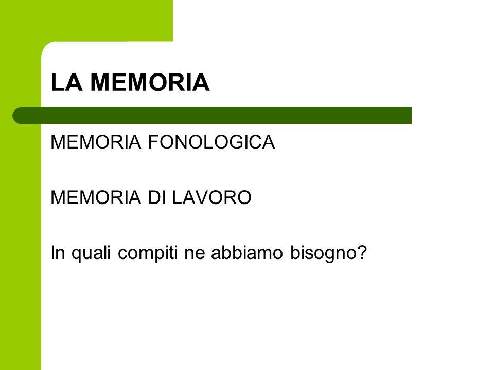 LA MEMORIA MEMORIA FONOLOGICA MEMORIA DI LAVORO In quali compiti ne abbiamo bisogno?