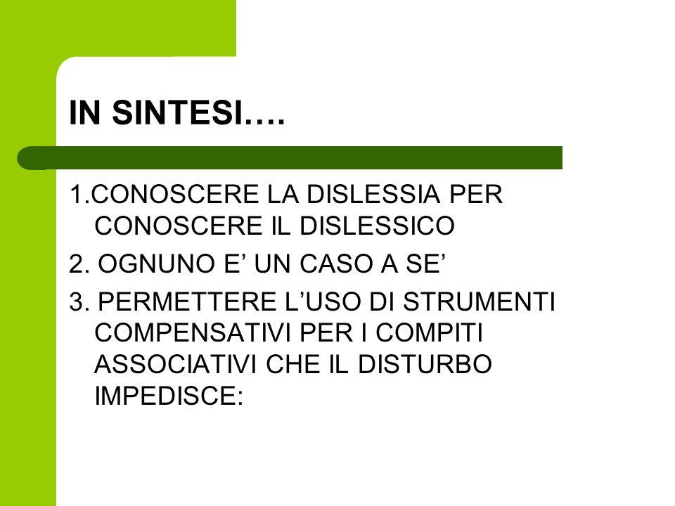 IN SINTESI…. 1.CONOSCERE LA DISLESSIA PER CONOSCERE IL DISLESSICO 2. OGNUNO E UN CASO A SE 3. PERMETTERE LUSO DI STRUMENTI COMPENSATIVI PER I COMPITI
