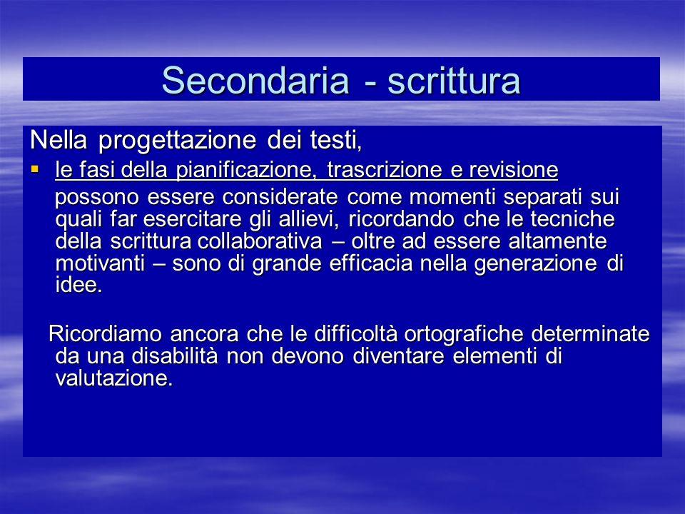 Secondaria - scrittura Nella progettazione dei testi, le fasi della pianificazione, trascrizione e revisione le fasi della pianificazione, trascrizion