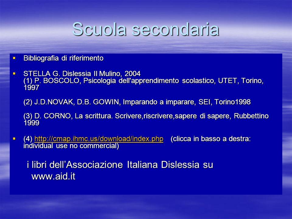 Scuola secondaria Bibliografia di riferimento Bibliografia di riferimento STELLA G. Dislessia Il Mulino, 2004 (1) P. BOSCOLO, Psicologia dell'apprendi