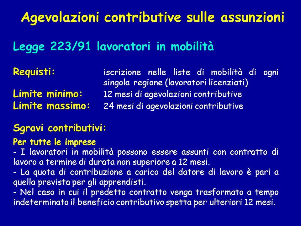 Legge 223/91 lavoratori in mobilità Requisti: iscrizione nelle liste di mobilità di ogni singola regione (lavoratori licenziati) Limite minimo: 12 mes