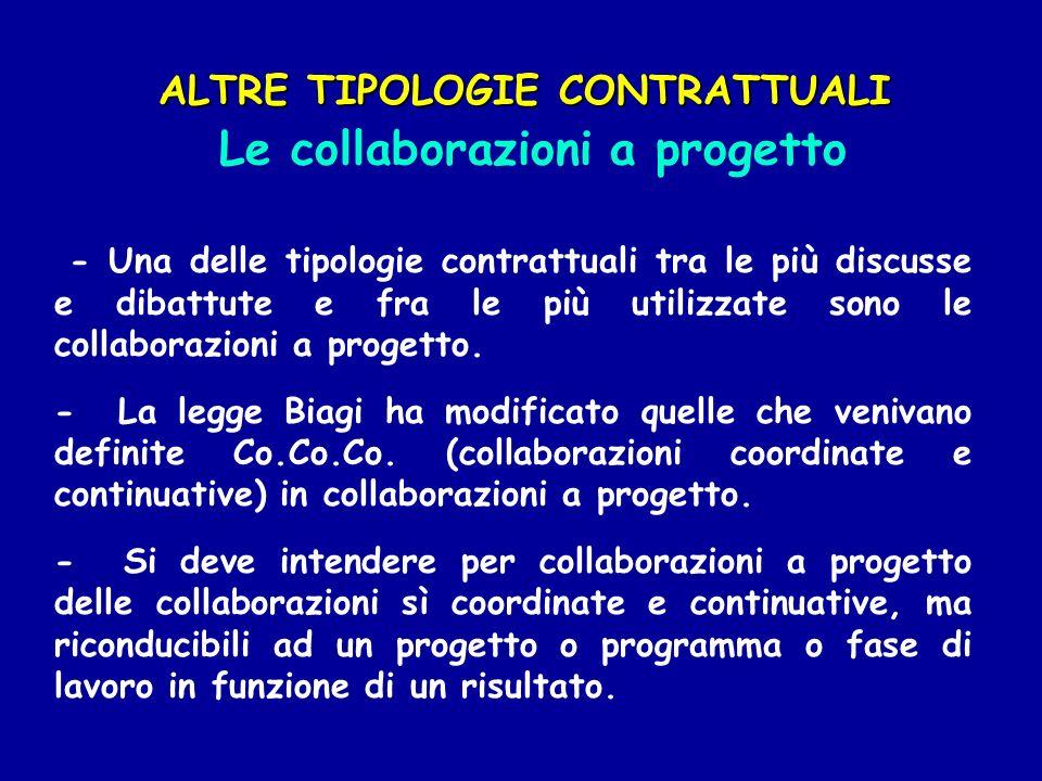 ALTRE TIPOLOGIE CONTRATTUALI Le collaborazioni a progetto - Una delle tipologie contrattuali tra le più discusse e dibattute e fra le più utilizzate s