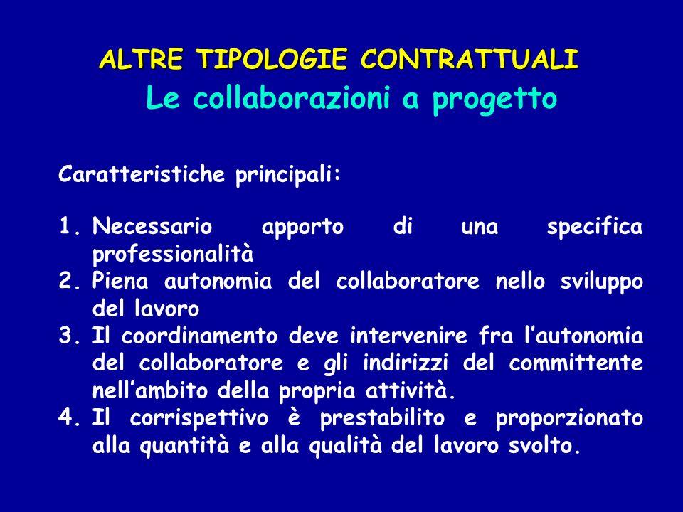 Caratteristiche principali: 1.Necessario apporto di una specifica professionalità 2.Piena autonomia del collaboratore nello sviluppo del lavoro 3.Il c