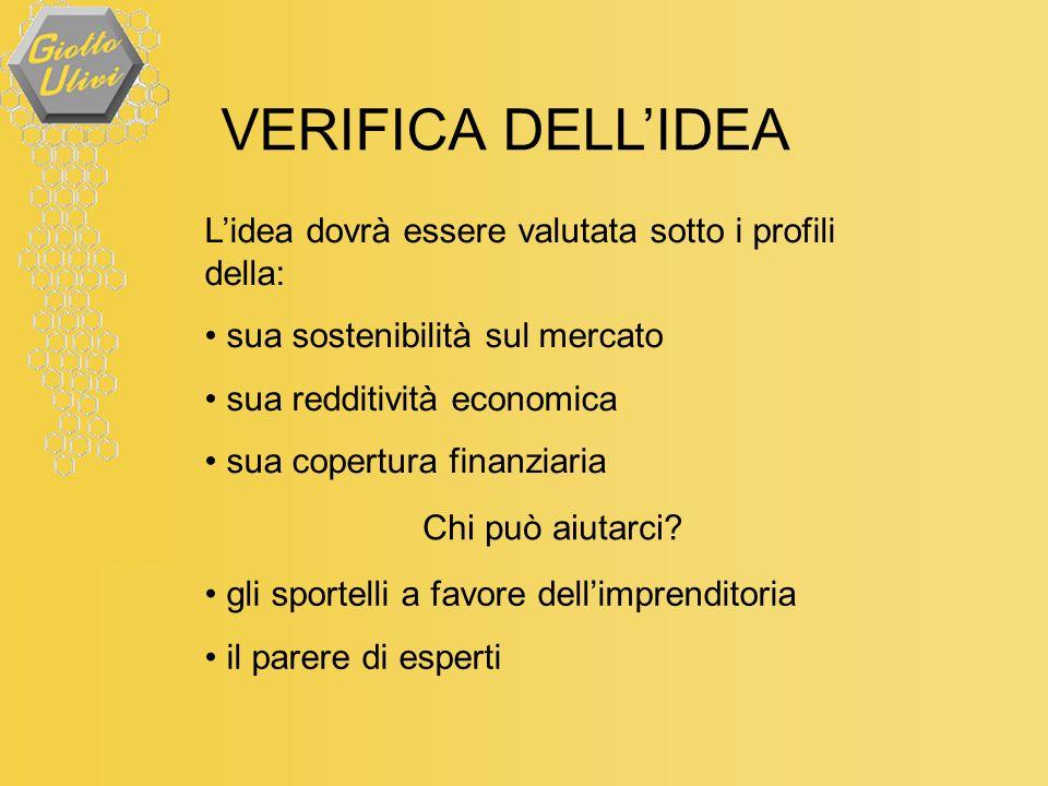 VERIFICA DELLIDEA Lidea dovrà essere valutata sotto i profili della: sua sostenibilità sul mercato sua redditività economica sua copertura finanziaria