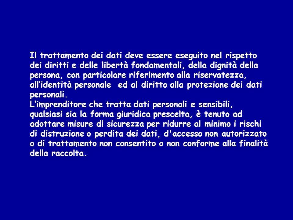 Il trattamento dei dati deve essere eseguito nel rispetto dei diritti e delle libertà fondamentali, della dignità della persona, con particolare rifer
