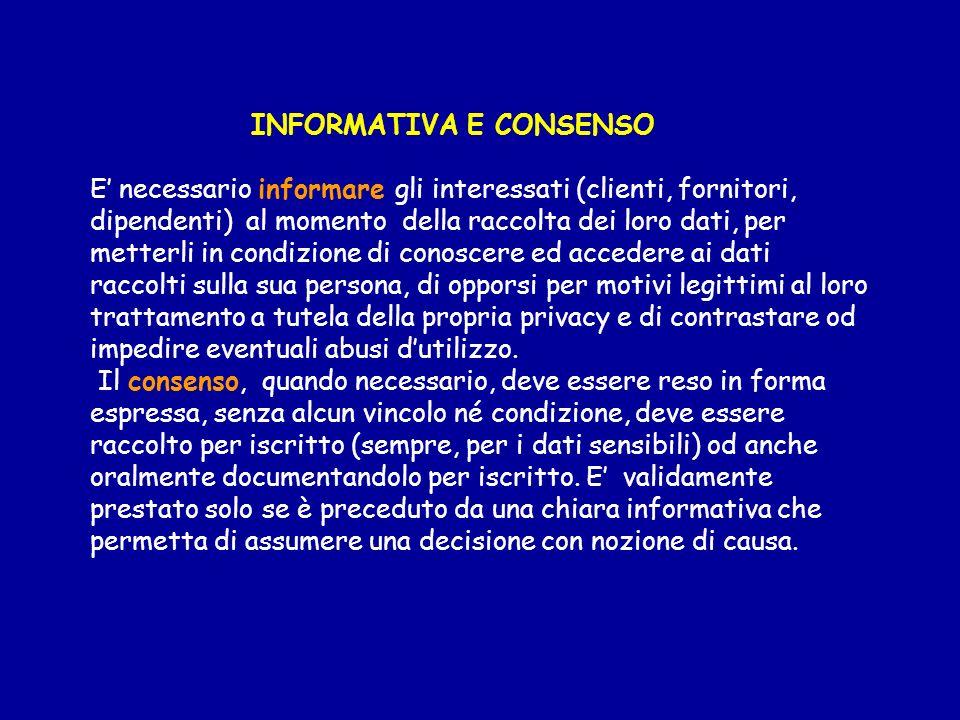 INFORMATIVA E CONSENSO E necessario informare gli interessati (clienti, fornitori, dipendenti) al momento della raccolta dei loro dati, per metterli i