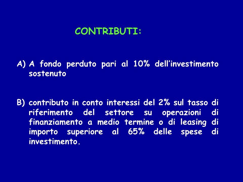 CONTRIBUTI: A)A fondo perduto pari al 10% dellinvestimento sostenuto B)contributo in conto interessi del 2% sul tasso di riferimento del settore su op