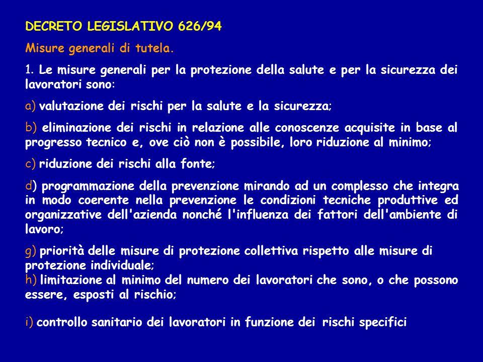 DECRETO LEGISLATIVO 626/94 Misure generali di tutela. 1. Le misure generali per la protezione della salute e per la sicurezza dei lavoratori sono: a)
