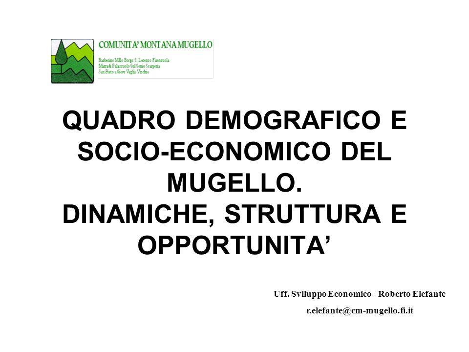 QUADRO DEMOGRAFICO E SOCIO-ECONOMICO DEL MUGELLO.DINAMICHE, STRUTTURA E OPPORTUNITA Uff.