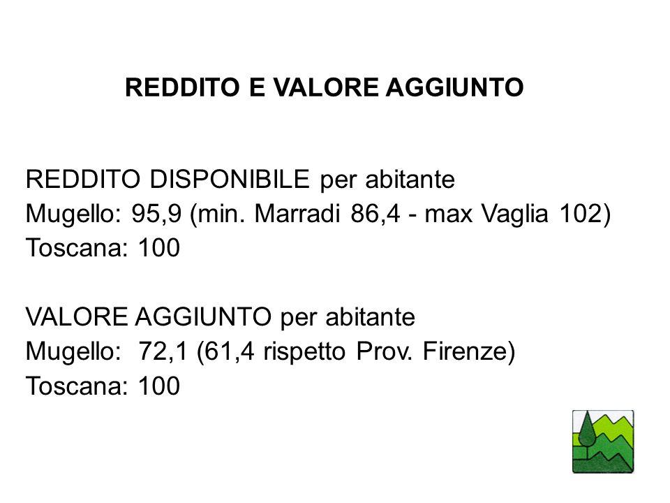 REDDITO E VALORE AGGIUNTO REDDITO DISPONIBILE per abitante Mugello: 95,9 (min.