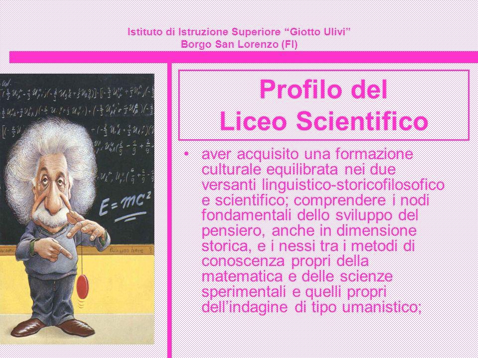 Istituto di Istruzione Superiore Giotto Ulivi Borgo San Lorenzo (FI) Insegnamenti del liceo scientifico sc.