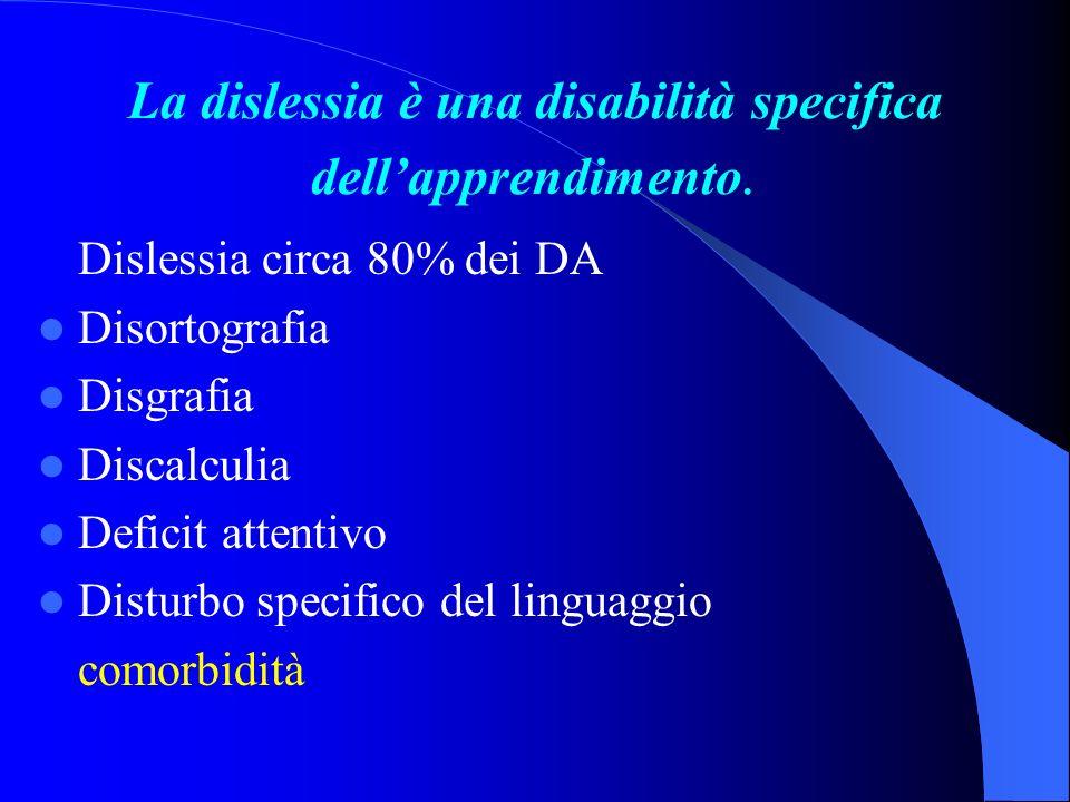 La dislessia è una disabilità specifica dellapprendimento. Dislessia circa 80% dei DA Disortografia Disgrafia Discalculia Deficit attentivo Disturbo s