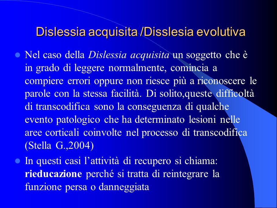 Dislessia acquisita /Disslesia evolutiva Dislessia acquisita /Disslesia evolutiva Nel caso della Dislessia acquisita un soggetto che è in grado di leg