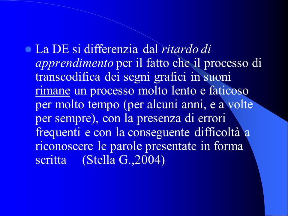 La DE si differenzia dal ritardo di apprendimento per il fatto che il processo di transcodifica dei segni grafici in suoni rimane un processo molto le