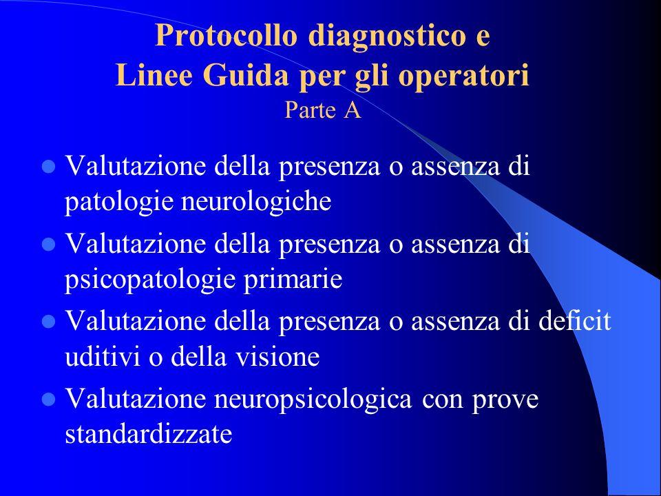 Protocollo diagnostico e Linee Guida per gli operatori Parte A Valutazione della presenza o assenza di patologie neurologiche Valutazione della presen