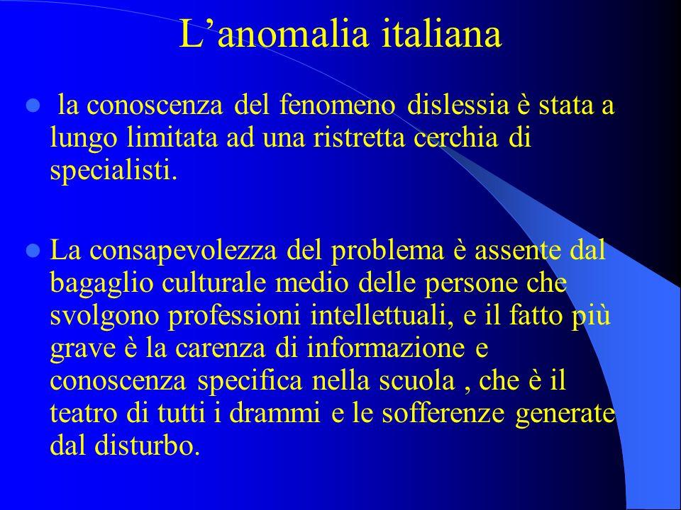 Lanomalia italiana la conoscenza del fenomeno dislessia è stata a lungo limitata ad una ristretta cerchia di specialisti. La consapevolezza del proble