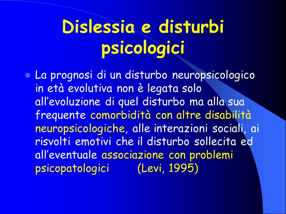 Dislessia e disturbi psicologici La prognosi di un disturbo neuropsicologico in età evolutiva non è legata solo allevoluzione di quel disturbo ma alla