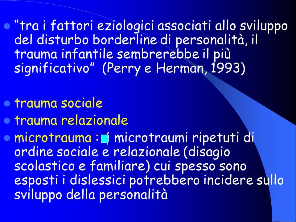 tra i fattori eziologici associati allo sviluppo del disturbo borderline di personalità, il trauma infantile sembrerebbe il più significativo (Perry e