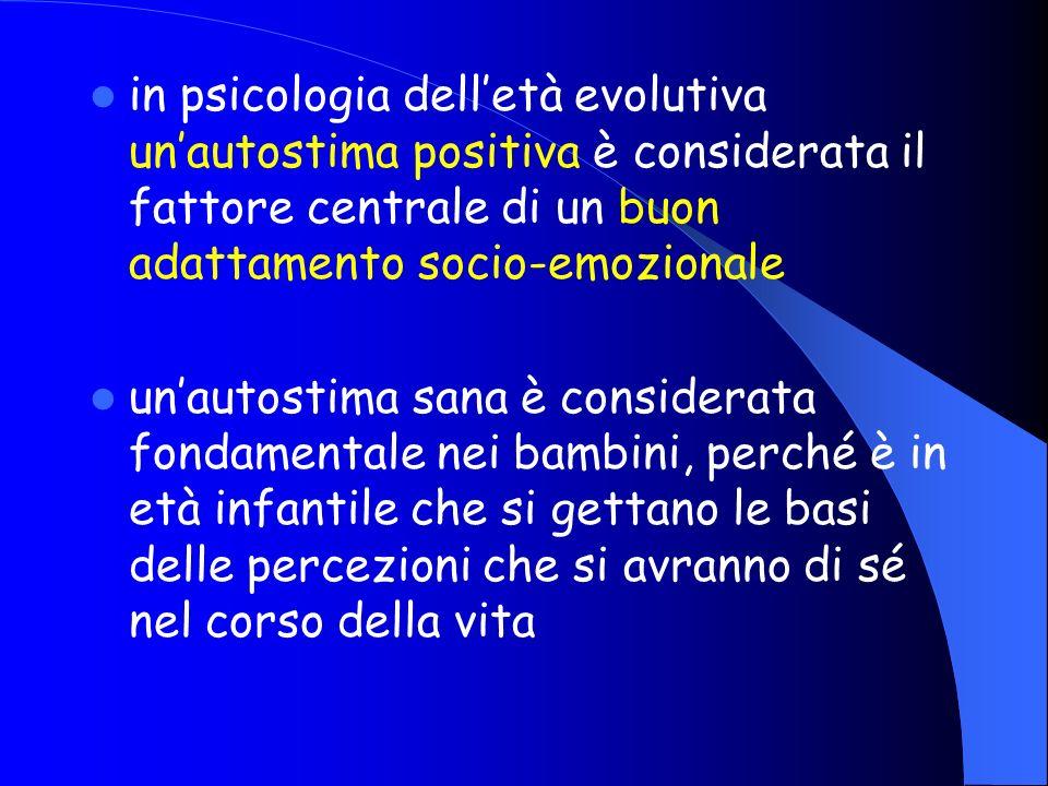 in psicologia delletà evolutiva unautostima positiva è considerata il fattore centrale di un buon adattamento socio-emozionale unautostima sana è cons