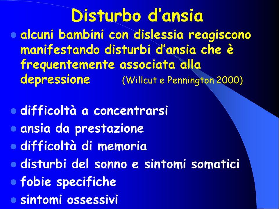 Disturbo dansia alcuni bambini con dislessia reagiscono manifestando disturbi dansia che è frequentemente associata alla depressione (Willcut e Pennin