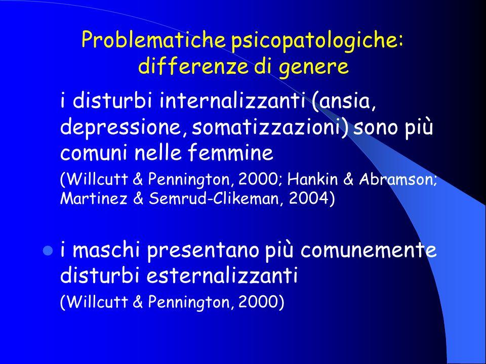 Problematiche psicopatologiche: differenze di genere i disturbi internalizzanti (ansia, depressione, somatizzazioni) sono più comuni nelle femmine (Wi
