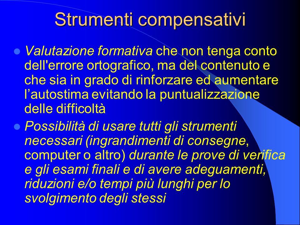 Strumenti compensativi Valutazione formativa che non tenga conto dell'errore ortografico, ma del contenuto e che sia in grado di rinforzare ed aumenta