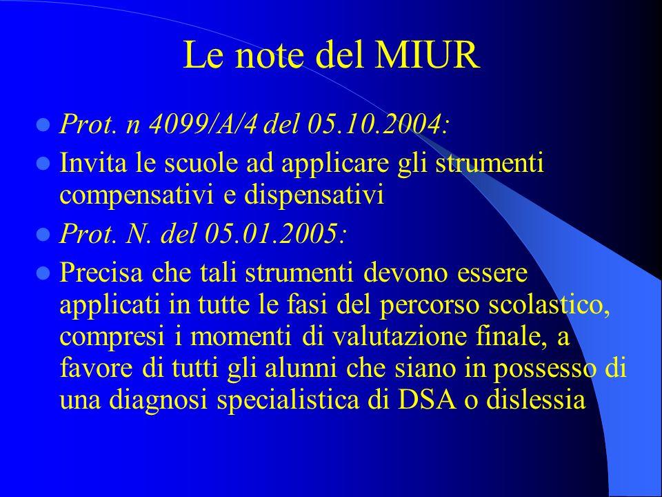 Le note del MIUR Prot. n 4099/A/4 del 05.10.2004: Invita le scuole ad applicare gli strumenti compensativi e dispensativi Prot. N. del 05.01.2005: Pre