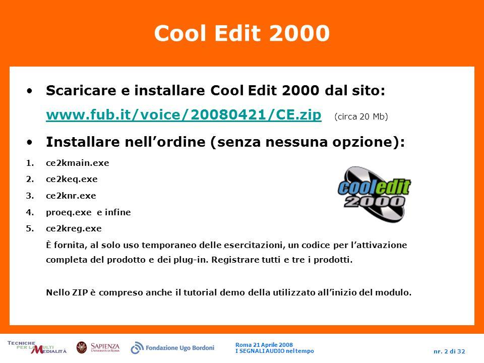 Roma 21 Aprile 2008 I SEGNALI AUDIO nel tempo nr.