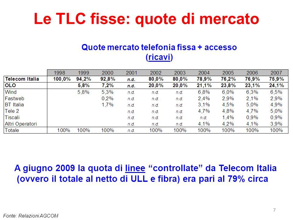 77 Le TLC fisse: quote di mercato Fonte: Relazioni AGCOM Quote mercato telefonia fissa + accesso (ricavi) A giugno 2009 la quota di linee controllate