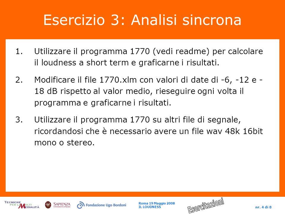 Roma 19 Maggio 2008 IL LOUDNESS nr. 4 di 8 Esercizio 3: Analisi sincrona 1.Utilizzare il programma 1770 (vedi readme) per calcolare il loudness a shor