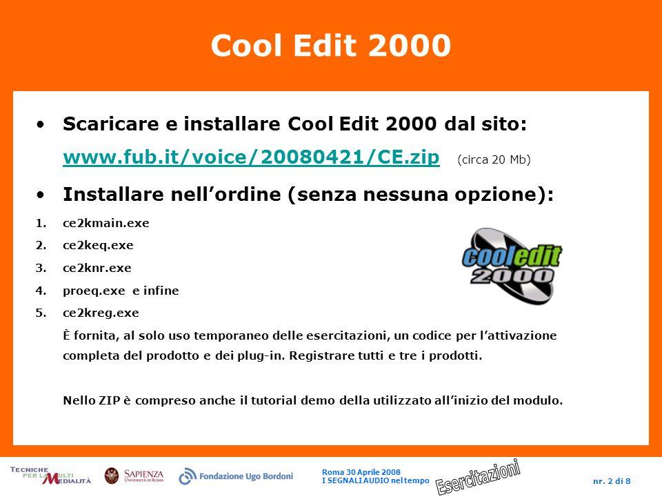 Roma 30 Aprile 2008 I SEGNALI AUDIO nel tempo nr. 2 di 8 Cool Edit 2000 Scaricare e installare Cool Edit 2000 dal sito: www.fub.it/voice/20080421/CE.z