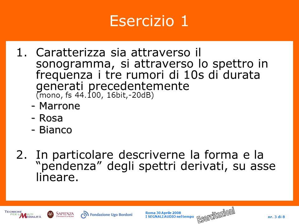 Roma 30 Aprile 2008 I SEGNALI AUDIO nel tempo nr. 3 di 8 Esercizio 1 1.Caratterizza sia attraverso il sonogramma, si attraverso lo spettro in frequenz