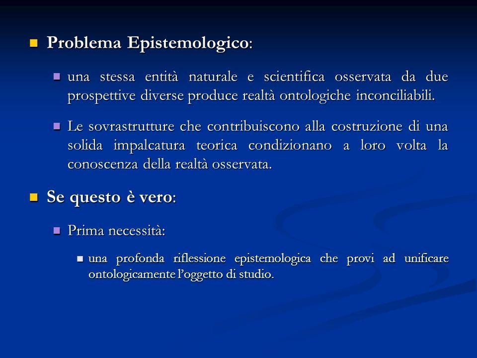 Problema Epistemologico: Problema Epistemologico: una stessa entità naturale e scientifica osservata da due prospettive diverse produce realtà ontolog