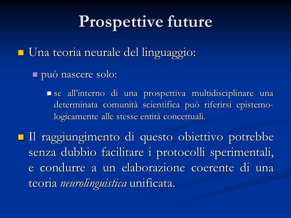 Prospettive future Una teoria neurale del linguaggio: Una teoria neurale del linguaggio: può nascere solo: può nascere solo: se allinterno di una pros