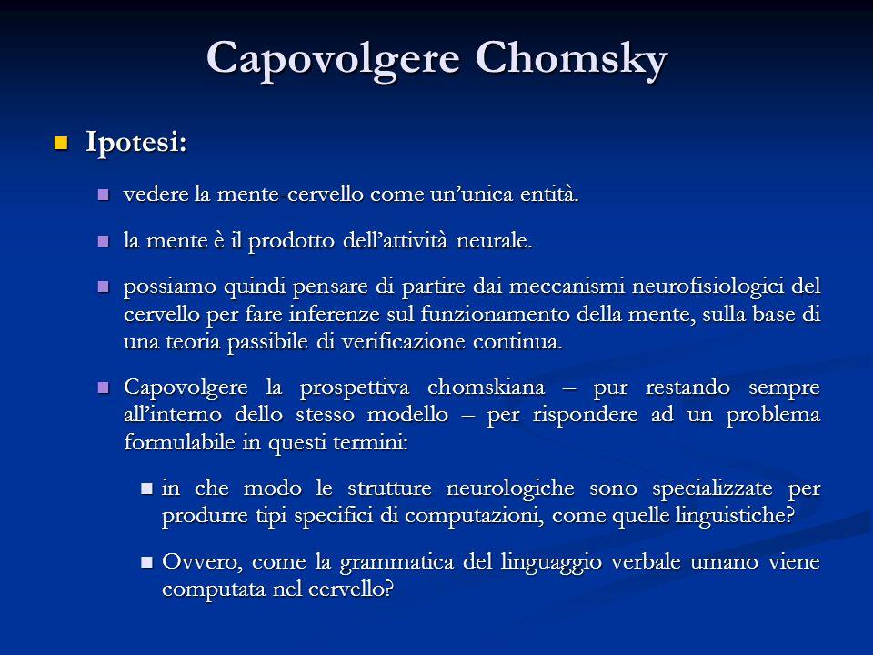 Capovolgere Chomsky Ipotesi: Ipotesi: vedere la mente-cervello come ununica entità. vedere la mente-cervello come ununica entità. la mente è il prodot