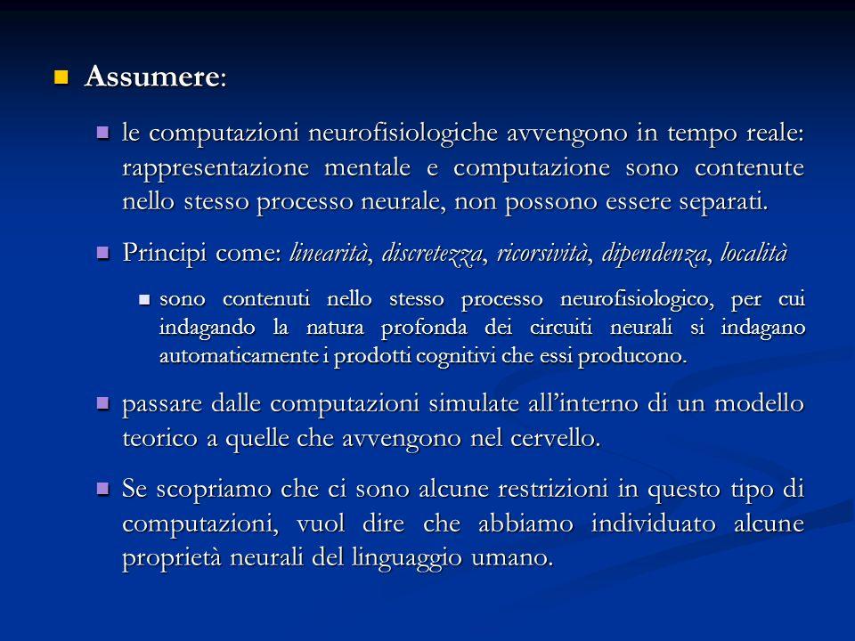 Assumere: Assumere: le computazioni neurofisiologiche avvengono in tempo reale: rappresentazione mentale e computazione sono contenute nello stesso pr