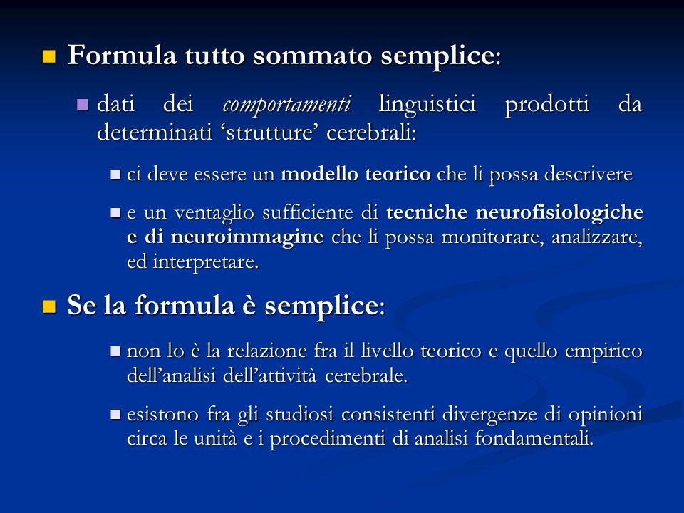 Formula tutto sommato semplice: Formula tutto sommato semplice: dati dei comportamenti linguistici prodotti da determinati strutture cerebrali: dati d