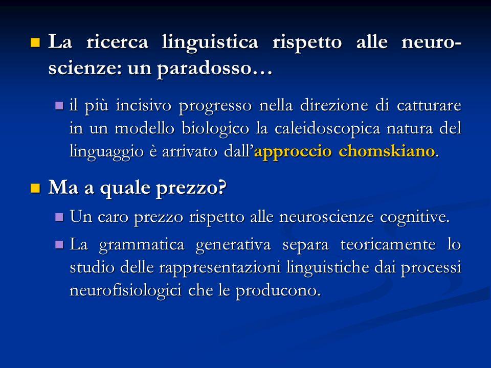 La ricerca linguistica rispetto alle neuro- scienze: un paradosso… La ricerca linguistica rispetto alle neuro- scienze: un paradosso… il più incisivo